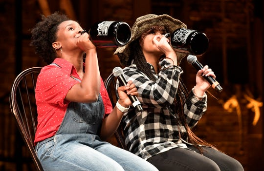 "Memphis Central High School's LaTera Allen and Hannah Blackwell perform their ""Whiskey Rebellion Rap"" on Thursday, Jan. 16, 2020, in Nashville. Students in underserved schools created a piece of Founding Father-era art and then performed on the ""Hamilton"" stage in front of peers and ""Hamilton"" cast members."
