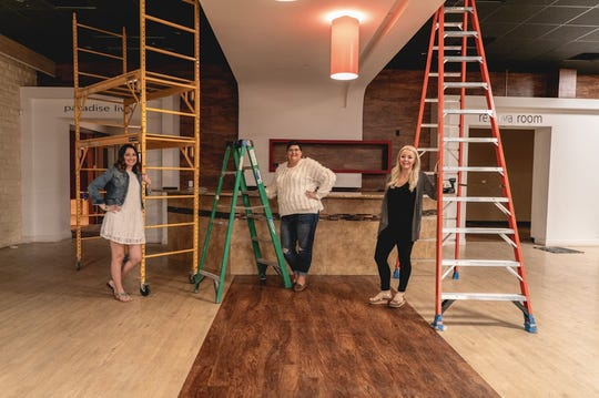 A work in progress for Naples' J. Lee Salon Suites, which is due to open by July. From left to right: Katicia Baker (General Manager), Tabatha Swihart (Business Strategist) and Jacey Lee (Owner).
