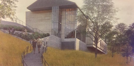An artist's sketch of the new Denison University Student Wellness Center being planned for location across from the university parking garage.