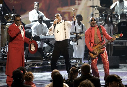 The Isley Brothers perform during the BET Awards, Tuesday, June 29, 2004, in Los Angeles. A lifetime achievement award was given to the Isley Brothers during the show. (AP Photo/Kevork Djansezian)