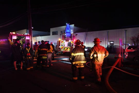Emergency responders on the scene of a fire at 185 Industrial Ave. in Ridgefield Park on Wednesday, January 15, 2020.