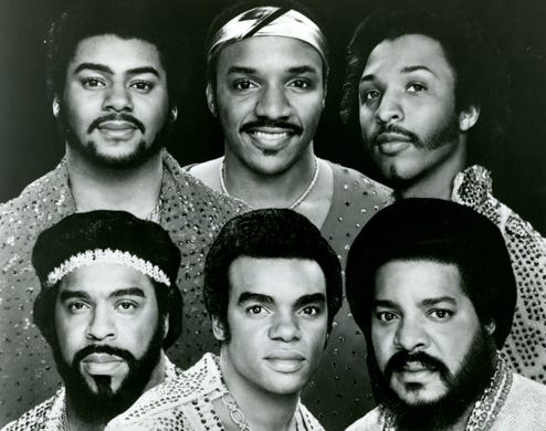 The Isley Brothers: Top Row: Mrvin Isley, Ernie Isley, Chris Jasper. Bottom Row: Rudolph Isley, Ronnie Isley, Kelly Isley