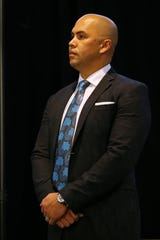 Carlos Beltran waits to be introduced as the manager of the New York Mets during a press conference at Citi Field on Nov. 4, 2019 in New York City.