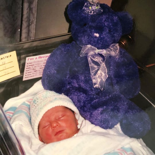 Brooke Costanzo with her original bear at birth