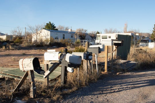 "Mailboxes along a ""street"" in Chaparral — an unincorporated community with no mayor, no city council, no police department, no sanitation services, no public library."