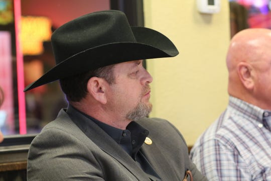 Eddy County Sheriff Mark Cage attends a speech by Republican Congressional Candidate Claire Chase, Jan. 16, 2020 at Pizza Inn.
