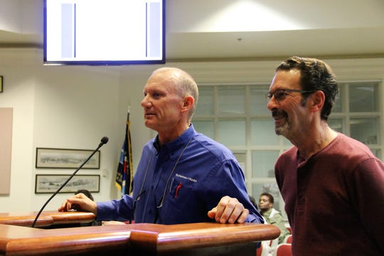 Bohannan Huston Engineering Manager Bob Johnson, right and Bohannan Huston engineer Rob Richardson, right, discuss the Bonito Lake change orders at the regular Alamogordo City Commission meeting Jan. 14.