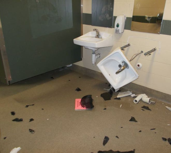 Oshkosh police are looking for information about who broke broke a sink in a women's restroom Friday, Jan. 10, 2020, at Menominee Park.
