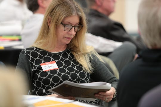 Community members review Palm Desert's new city council election system on Wednesday, Jan. 15, 2020 in Palm Desert, Calif.