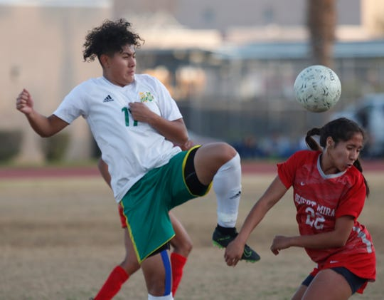 At left, Coachella Valley High School's Angelica Leal tries to control the ball against Desert Mirage High School on January 15, 2020. Coachella Valley won 1-0 on the road in Thermal.