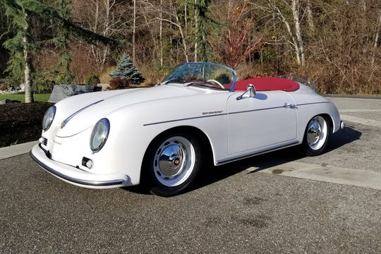 This Speedster re-creation was hand-built and comes with an under-dash handbrake, correct banjo steering wheel, short-throw shifter, bucket seats with proper look and feel, period-correct German-style gauges and trunk carpet