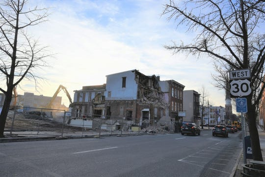 Buildings on the southwest corner of Lincoln Way East and South Second Street are being demolished to make room for more parking. The Elks Club was razed before this photo was taken on Jan. 15, 2019.