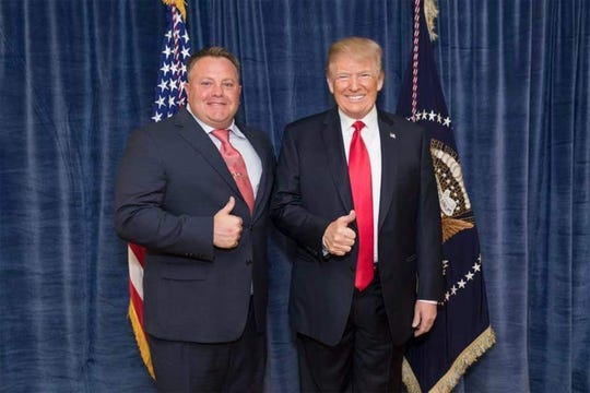 Robert F. Hyde, left, and President Donald Trump. National attention is on Hyde, whose WhatsApp messages with Lev Parnas seem to reflect an attempt to track ex-Ukraine ambassador Marie Yovanovitch's movements. (Hydeforcongress.com/TNS)