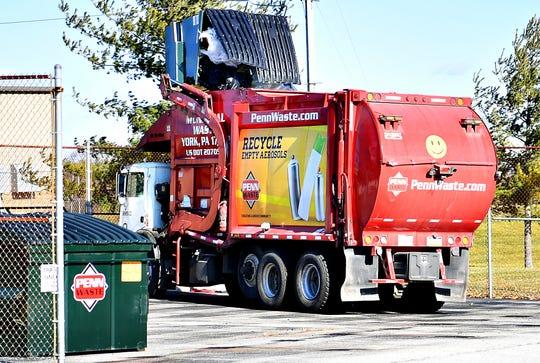 A Penn Waste truck in West Manchester Township, Thursday, Jan. 16, 2020. Dawn J. Sagert photo