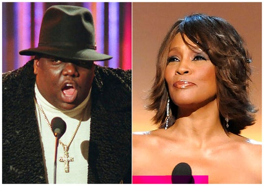 This combination photo shows Notorious B.I.G., who won rap artist and rap single of the year, during the annual Billboard Music Awards in New York on Dec. 6, 1995, left, and singer Whitney Houston at the BET Honors in Washington on Jan. 17, 2009. The pair will be inducted into the Rock and Roll Hall of Fame's 2020 class. (AP Photo)