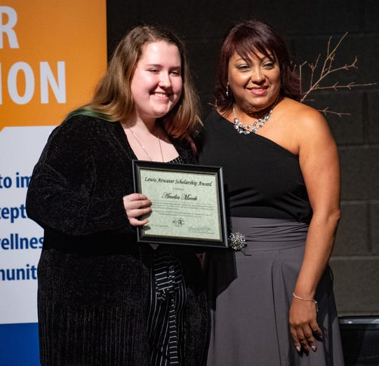 Lewis Atwater Award winner Amelia Macek (left) poses with Debra Martinez (right) during the 2020 City of York Human Relations Commission Diversity Dinner at Logos Academy, January 15, 2020.
