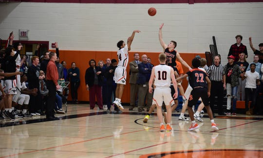 Central York's Kai'ryn Brown makes the game-tying shot in overtime against Northeastern Wednesday. Brown scored the final five points for the Panthers. Central York won 69-67 at home in an overtime thriller Wednesday.