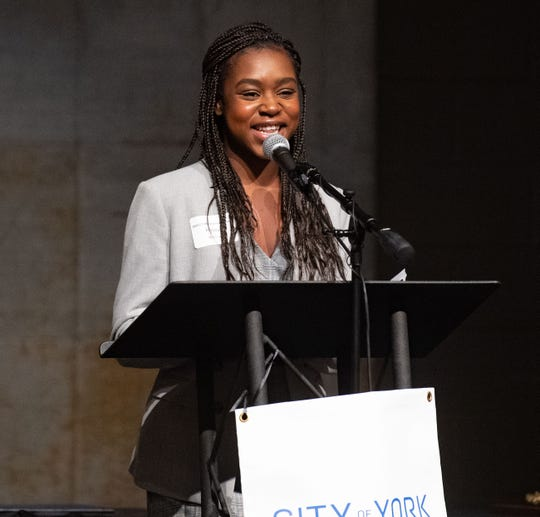 Lewis Atwater Award winner Halima Koroma share her journey to bring African American Studies to her high school during the 2020 City of York Human Relations Commission Diversity Dinner at Logos Academy, January 15, 2020.
