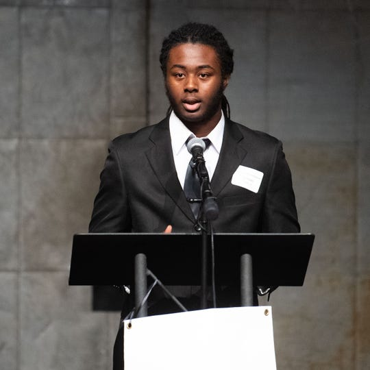 Lewis Atwater Award winner Michael Parker Jr. shares his future aspirations during the 2020 City of York Human Relations Commission Diversity Dinner at Logos Academy, January 15, 2020.