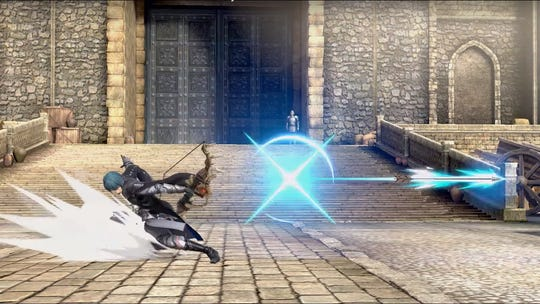 Byleth's Failnaught bow relic weapon in Super Smash Bros. Ultimate for the Nintendo Switch.