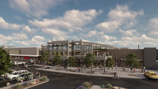 A rendering of the front elevation of Reno Public Market, the $40 million remaking of the old Shoppers Square that has begun on West Plumb Lane. The market will include a 16,000-square-foot food hall featuring local vendors.