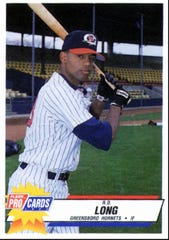 R.D. Long's baseball card from the 1993 Greensboro Hornets.