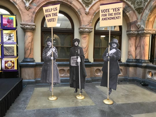 Suffragists at a Jan. 16, 2020 City Hall news conference about planned events in 2020 to honor Susan B. Anthony on her 200th birthday an the 100th anniversary of the 19th amendment.