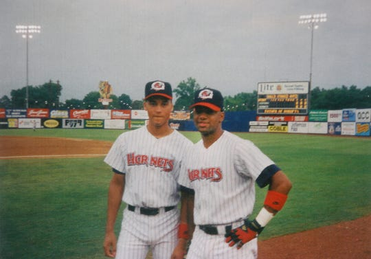 Derek Jeter, left, with his buddy R. D. Long of Rochester while the two played for the Greensboro Hornets of the single-A Atlantic League in 1993. Jeter was in Long's wedding party.