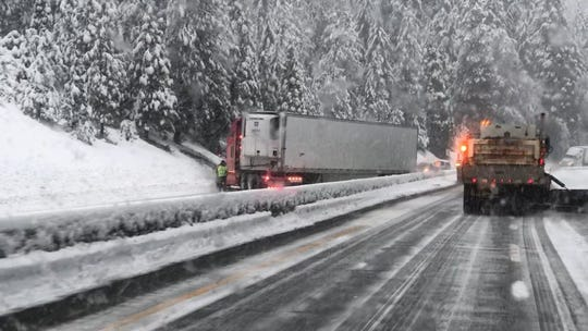 This contributed picture shows a jackknifed big rig blocking southbound Interstate 5 near Flume Creek on January 16, 2020.