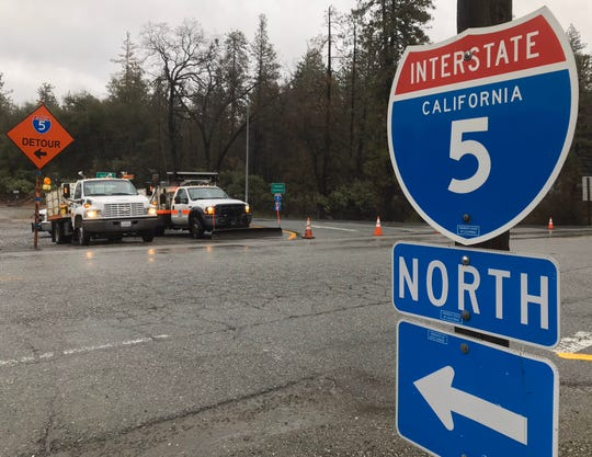 The Fawndale on-ramp onto northbound Interstate 5 is blocked Thursday morning, Jan. 16, 2020, due to weather conditions farther ahead. Traffic was being screened for chains or four-wheel drive capability just to the south of this location.