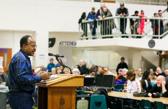 NAACP Salem-Keizer branch president Benny Williams speaks at a Martin Luther King Jr. Day rally January 15, 2018.