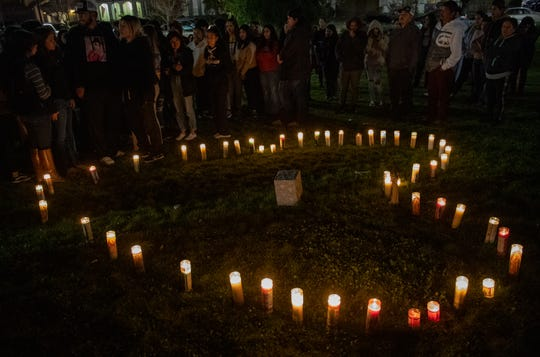 People attending Adrianna Annalie Vergara JuarezÕs vigil used their candles to form a giant heart on Jan. 15, 2020.