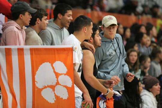 San Angelo Central High School football standout Tanner Dabbert (far right) cheers on the Lady Cats during a volleyball match in the 2019 season. The All-West Texas Football Team MVP has always been very involved supporting other sports programs on campus.