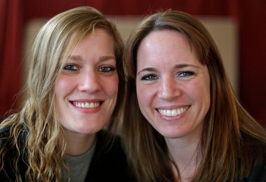 Wild Root deodorant creators Katie Spang of Kewaskum, Wis., left, and Jenny Veldkamp of Sheboygan Falls, pose Wednesday, Jan. 8, 2020, in Sheboygan, Wis.