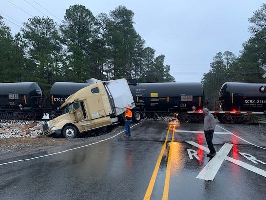 KCS train and semi-tractor trailer crash on Thursday, Jan. 16, 2020.