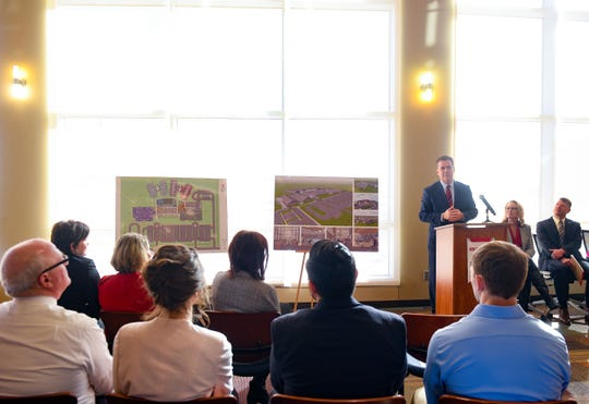LifeScape CEO and president Steve Watkins speaks at a press conference announcing plans for a new children's campus at the USD Discovery District on Thursday, Jan. 16, in Sioux Falls.