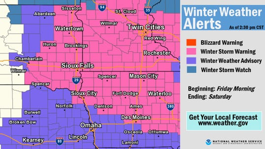 Winter storm warnings and advisories as of 3 p.m. Thursday.