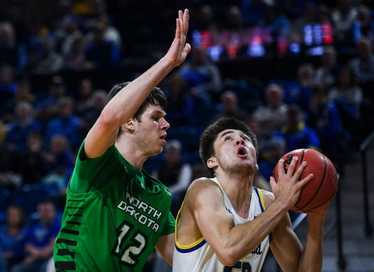 SDSU's David Wingett (50) looks to make a basket during the game against North Dakota on Wednesday, Jan. 15, 2020 at Frost Arena in Brookings, S.D.