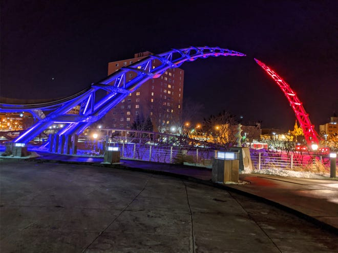 The Arc of Dreams will be lit up blue and red for the upcoming SDSU-USD basketball games.