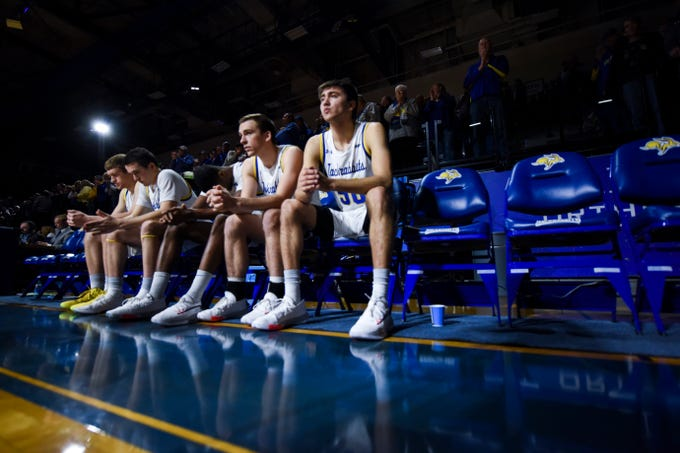 SDSU basketball players wait for the start of the game against North Dakota on Wednesday, Jan. 15, 2020 at Frost Arena in Brookings, S.D.