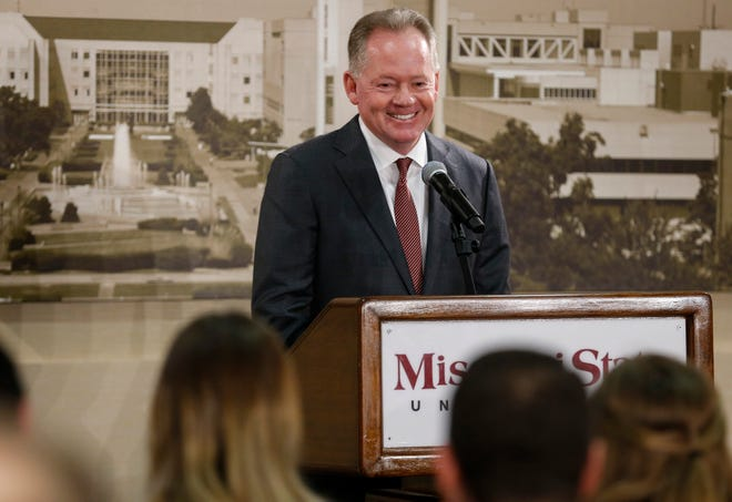 New Missouri State University Head Football Coach Bobby Petrino smiles during a press conference at JQH Arena on Thursday, Jan. 16, 2020.