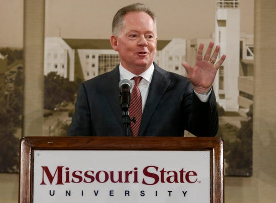 New Missouri State University Head Football Coach Bobby Petrino waves to the crowd during a press conference at JQH Arena on Thursday, Jan. 16, 2020.