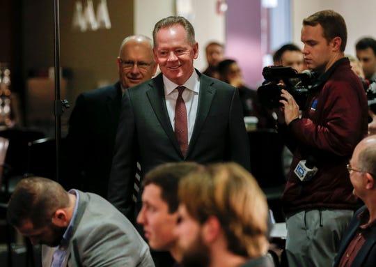 New Missouri State University Head Football Coach Bobby Petrino walks into a press conference at JQH Arena on Thursday, Jan. 16, 2020.