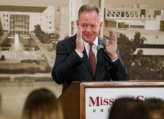 New Missouri State University Head Football Coach Bobby Petrino speaks during a press conference at JQH Arena on Thursday, Jan. 16, 2020.