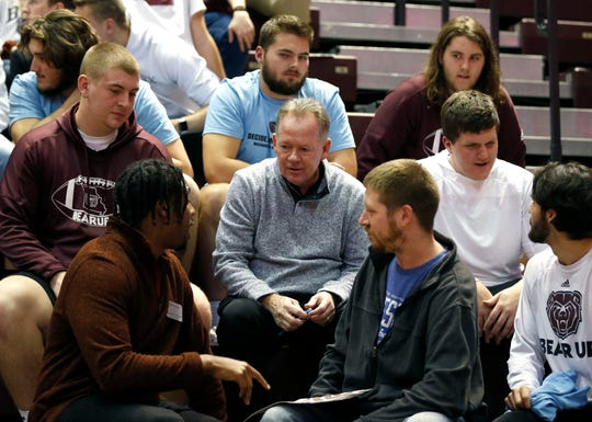 Missouri State Bears head football coach Bobby Petrino talks with students at the Bears basketball game in JQH Arena on Wednesday, Jan. 15, 2020.
