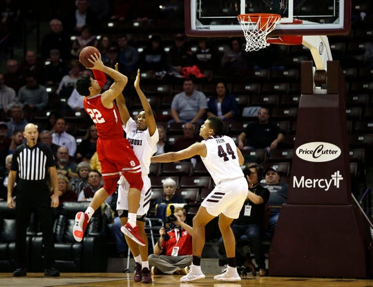 Bradley Braves forward Ja'Shon Henry (22) shoots a field goal over Missouri State Bears forward Isiaih Mosley (11) during a game at JQH Arena in Springfield, Mo. on Wednesday, Jan. 15, 2019.