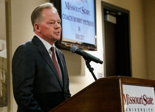 New Missouri State University Head Football Coach Bobby Petrino speaks during a press conference at JQH Arena on Jan. 16.