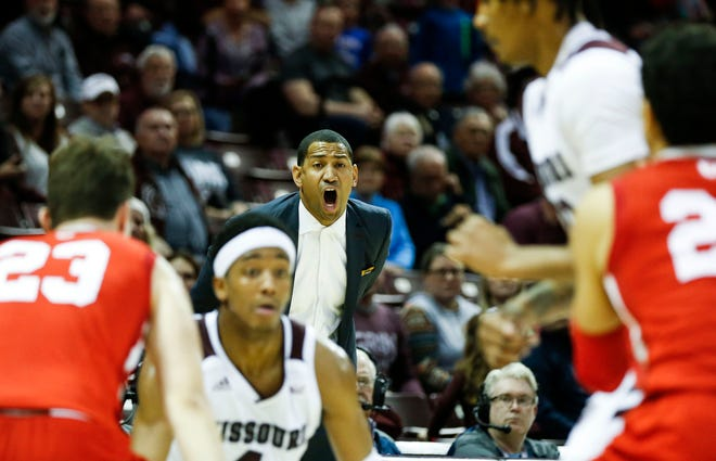 Missouri State Bears head coach Dana Ford shouts plays to players as the Bears take on the Bradley Braves at JQH Arena in Springfield, Mo. on Wednesday, Jan. 15, 2019.