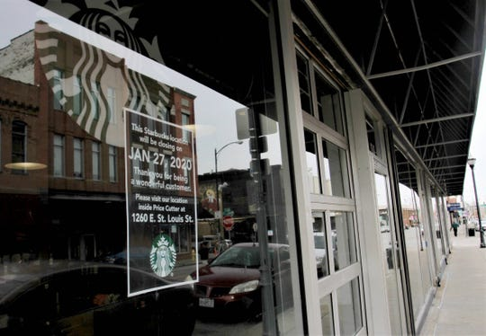 The Starbucks Coffee inside the former Bistro Market in downtown Springfield is shutting down, according to a signposted on the door Thursday.