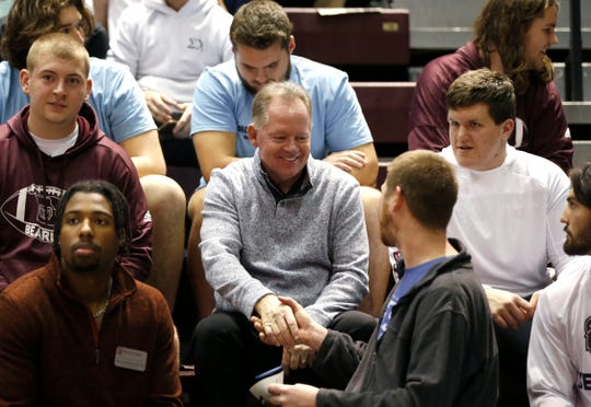 Missouri State Bears head football coach Bobby Petrino talks with students at the Bears basketball game in JQH Arena on Wednesday, Jan. 15, 2019.